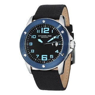 Stuhrling Original Men's Pilot Ace Black-Dial Quartz Canvas Leather Strap Watch