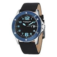 Stuhrling Original Men's Pilot Ace Black-Dial Quartz Canvas Leather Strap Watch - Black