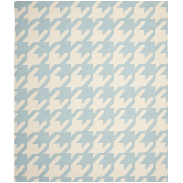 Safavieh Handwoven Moroccan Reversible Dhurrie Hounds Tooth Reversible Dhurrie Light Blue Wool Rug - 8' x 10'