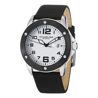 Stuhrling Original Men's Pilot Ace Quartz Stainless Steel Canvas Leather Strap Watch - black