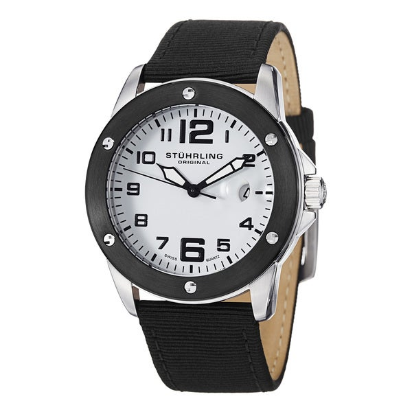 Stuhrling Original Men's Pilot Ace Quartz Stainless Steel Canvas Leather Strap Watch