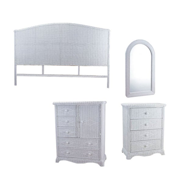 Bedroom Set: Full Size Headboard / 4 Drawer Chest / 1 Door + 5 Drawer Chest / Arch Top Mirror