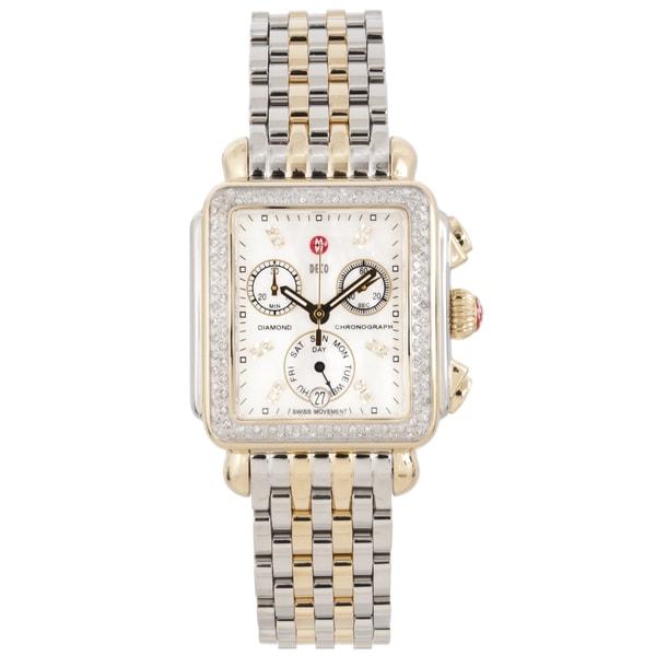 0808e61c1 Shop Michele Women's Two-tone Steel 'Deco' Diamond Watch - Free ...