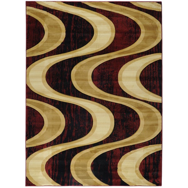 Ottomanson Hand Carved Moderno Contemporary Waves Burgundy Area Rug (5'3 x 7'3)