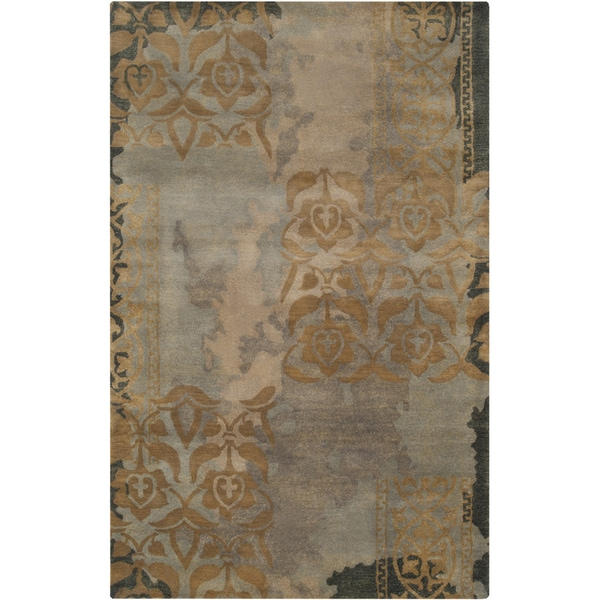 Hand-tufted Midnight Green Abstract Floral Wool Rug (8' x 11')