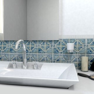 SomerTile 11.75x11.75-in Luna Pacific Blue Porcelain Mosaic Tile (Pack of 10)