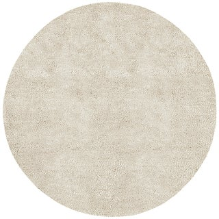 Handwoven White Colorful Plush Shag New Zealand Felted Wool Rug (8' Round)