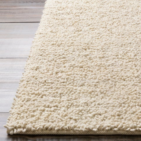 Hand-woven White Colorful Plush Shag New Zealand Felted Wool Area Rug - 8' x 8'