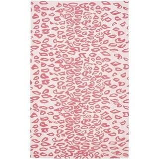 Safavieh Handmade Children's Leopard Ivory/ Pink Wool Rug (8' x 10')