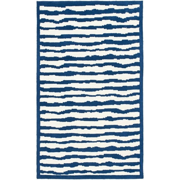 Safavieh Handmade Children's Stripes Ivory/ Blue Wool Rug (8' x 10')