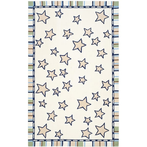 Safavieh Handmade Children's Stars Ivory New Zealand Wool Rug (5' x 8')
