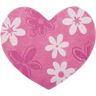 Safavieh Handmade Children's Daisies Pink Hearts New Zealand Wool Rug