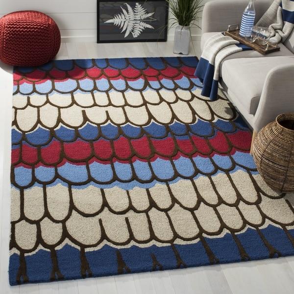 Safavieh Handmade Children's Doodle Blue/ Beige New Zealand Wool Rug