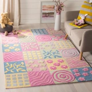 Safavieh Handmade Children's Patchworks Pink New Zealand Wool Rug