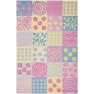 Safavieh Handmade Childrens Patchworks Pink New Zealand Wool Rug (6 x 6 Round - Pink/Multi)