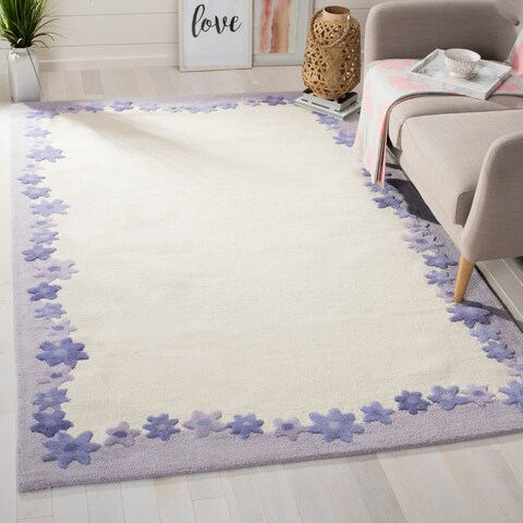 Safavieh Handmade Children's Daisy Borders Ivory New Zealand Wool Rug