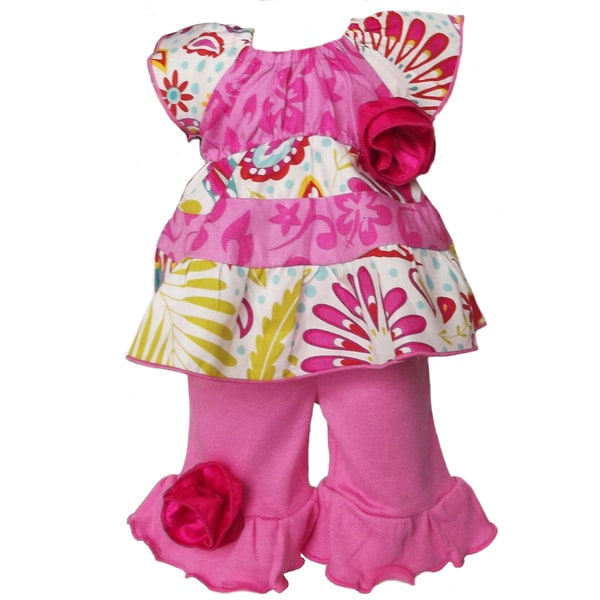 AnnLoren 2 piece Hawaiian & Sunburst Floral Outfit fits American Girl Doll
