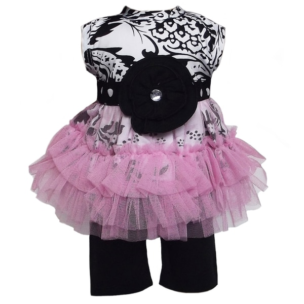 AnnLoren 2 piece Damask, Dots & Tulle Outfit Fits American Girl Doll