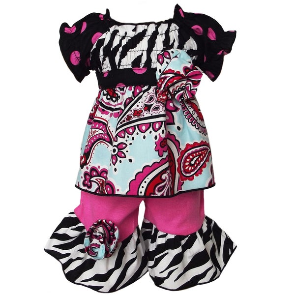 AnnLoren 2 piece Paisley, Polka Dots & Zebra Outfit Fits American Girl Doll