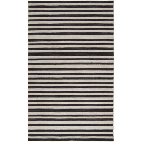 Handwoven Mack Jet Black Wool Rug (8' x 11')
