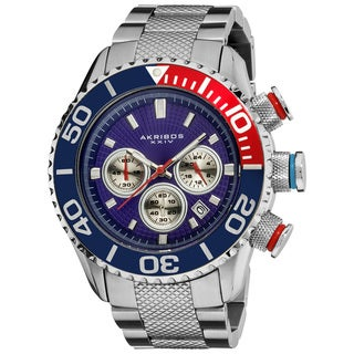 Blue Akribos Men's Large Diver's Chronograph Bracelet Watch with FREE GIFT - Multi/Silver
