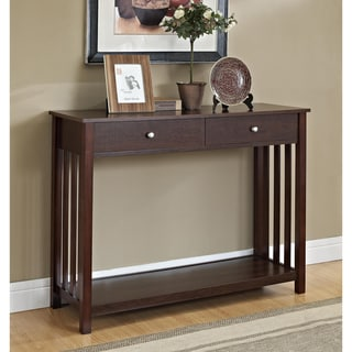 Mission-Style Espresso Console Sofa Table with Drawer