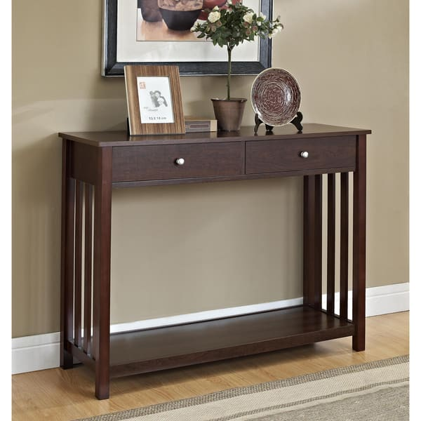 Mission Style Espresso Console Sofa Table With Drawer