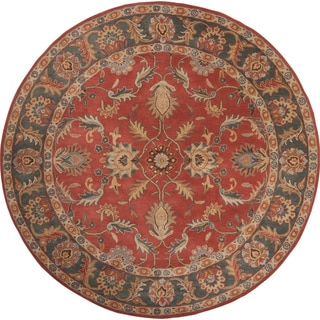 Hand-tufted Pomezia Rust Traditional Border Wool Rug (4' Round)