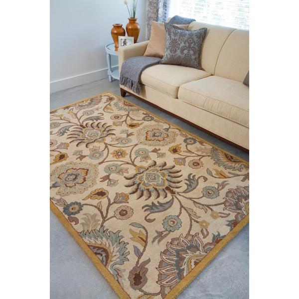 Hand-tufted Maltera Beige Floral Wool Area Rug - 8' x 11'