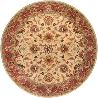 Hand-tufted Crotone Beige/Red Traditional Border Wool Rug (6' Round)