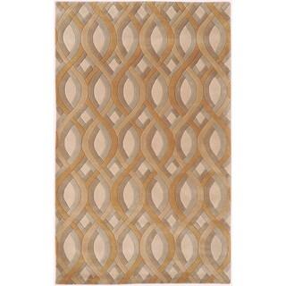 Hand-tufted Molfetta Tan Geometric Plush Wool Rug (9' x 13')