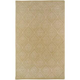 "Hand-tufted Napoli Khaki Geometric Wool Area Rug - 3'3"" x 5'3"""