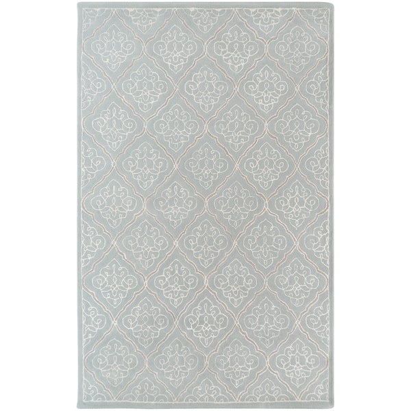 Hand-tufted Marano Dove Grey Geometric Wool Rug (9' x 13')