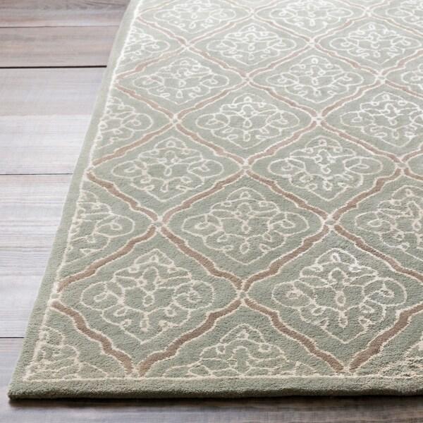 Hand-tufted Marano Dove Grey Geometric Wool Area Rug - 9' x 13'