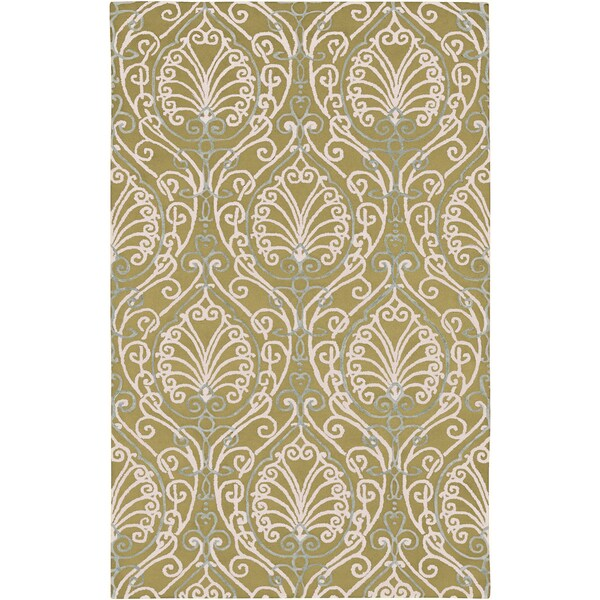 Hand-tufted Legnano Avocado Botanical Pattern Wool Area Rug - 9' x 13'