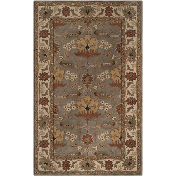 Hand-tufted Grey Traditional Bordered Lagonda Wool Rug (2' x 3')
