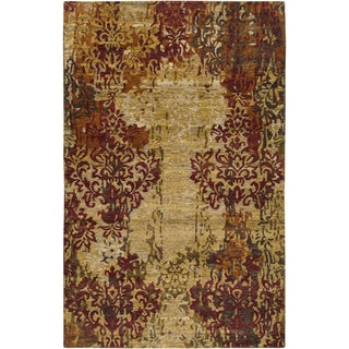 Hand-knotted Lanos Tan Wool Rug (9' x 13')