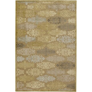 Woven Loyale Yellow Damask Print Rug (8'8 x 12')