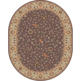 Hand-tufted Passat Brown Wool Rug-(8' x 10' Oval)