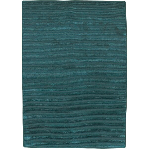 Hand-knotted Anzio Teal Green Wool Rug (9' x 13')