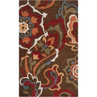 Hand-tufted Aiseau Chocolate Brown Floral Area Rug - 9' x 13'