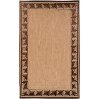 "Rovigo Sand Indoor/Outdoor Geo Border Area Rug - 7'10"" x 10'8""/Surplus"