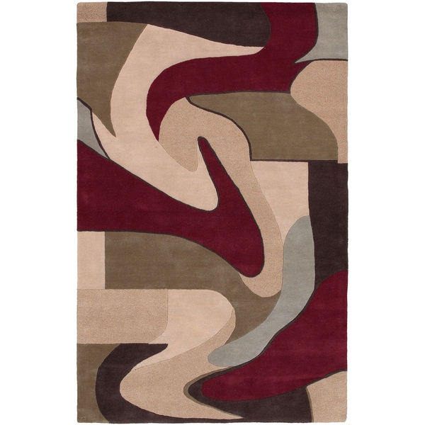 Hand-tufted Portici Maroon Abstract Wool Area Rug - 9' x 13'