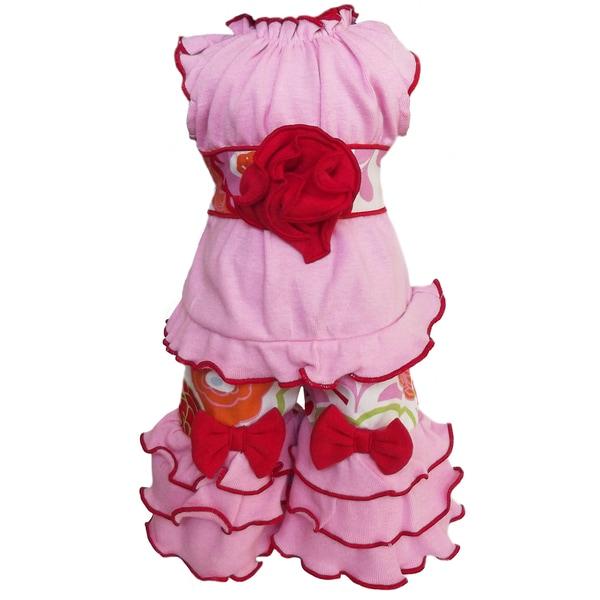 AnnLoren 2-piece Fancy Floral Printed Tunic & Capri Set for American Girl Dolls