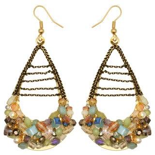 Kate Marie Goldtone Acrylic Bead Teardrop Cluster Earrings