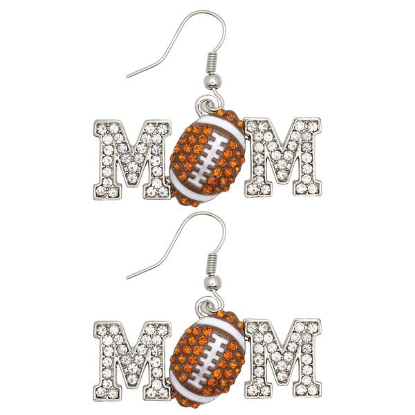 Kate Marie Silvertone Cubic Zirconia Football 'Mom' Earrings