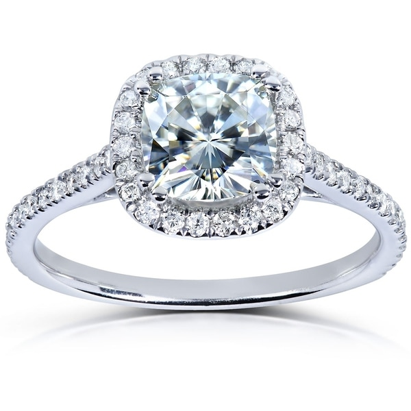 Annello by Kobelli 14k White Gold 1 1/3ct TGW Cushion-cut Moissanite and Diamond Halo Engagement Ring