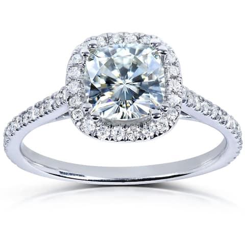 Annello by Kobelli 14k White Gold 1 1/3ct TGW Cushion Moissanite and Diamond Halo Engagement Ring