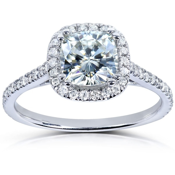 Annello by Kobelli 14k White Gold 1 1/3ct TGW Cushion Moissanite and Diamond Halo Engagement Ring