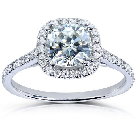 Annello by Kobelli 14k White Gold Moissanite and Diamond Halo Engagement Ring